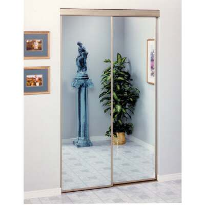 Erias 4050 Series 47 In. W. x 80-1/2 In. H. Mayan Gold Top Hung Mirrored Bypass Door