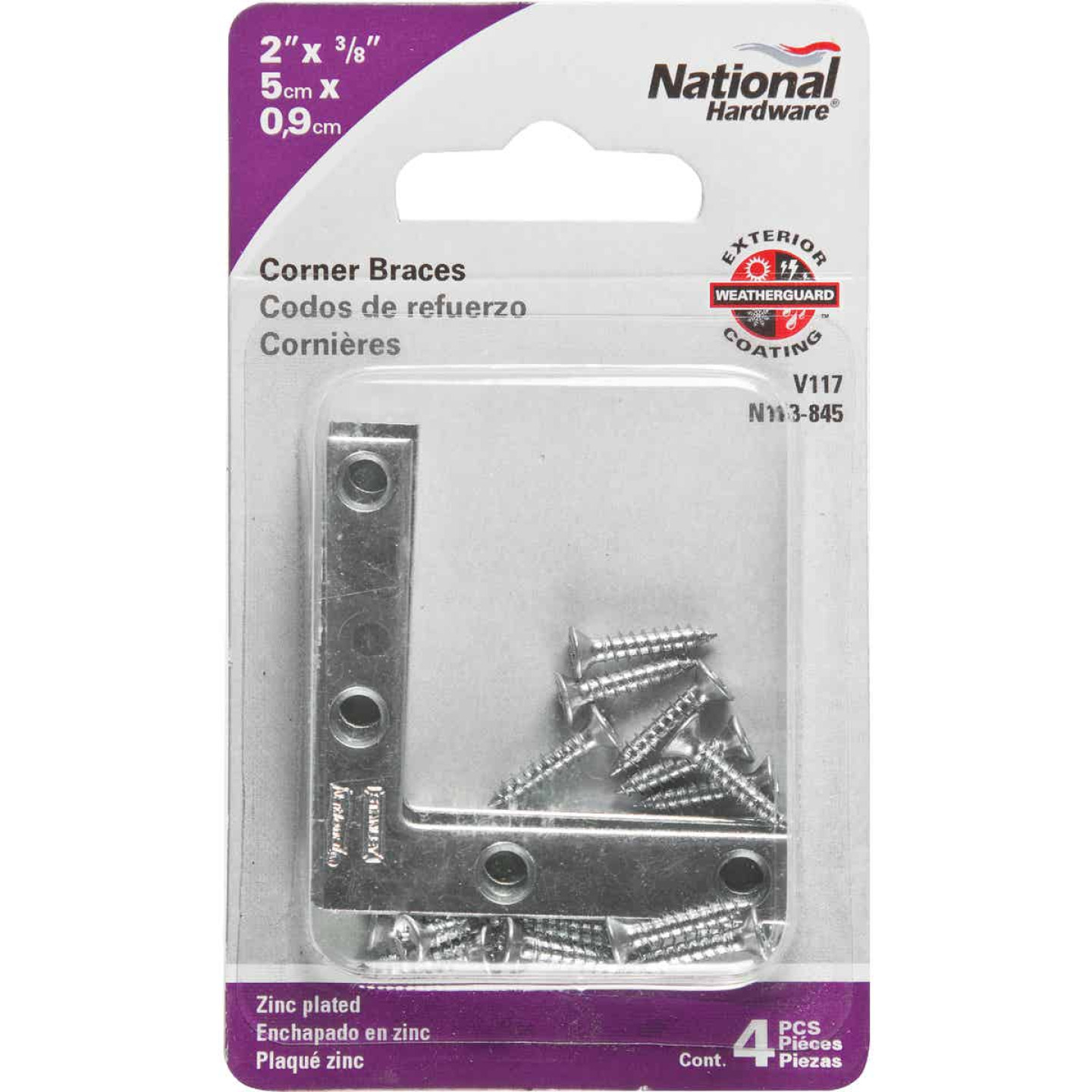 National Catalog 117 2 In. x 3/8 In. Zinc Flat Corner Iron (4-Count) Image 2