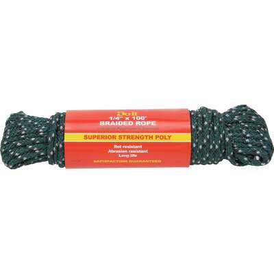 Do it 1/4 In. x 100 Ft. Green Double Braided Polypropylene Packaged Rope